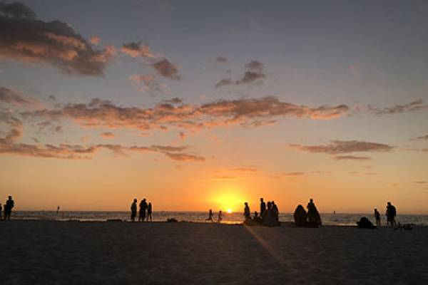 Group gathers for Golden Sunset | Long Key Vacation Rentals